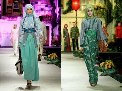model baju batik muslim untuk pesta kesan natural
